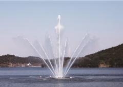 빛과 물이 빚어내는 불갑수변공원 '분수쇼' 장관